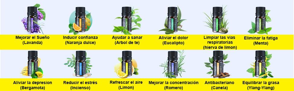 aceites esenciales para humidificador difusor electrico