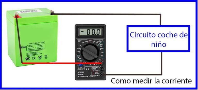 como medir corriente en la batería de un coche para niño