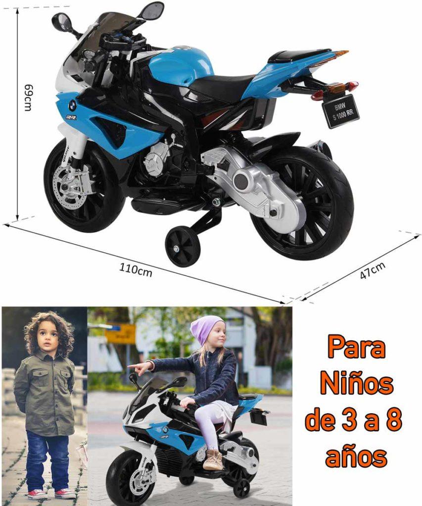 tamaño de Moto electrica de juguete para niño