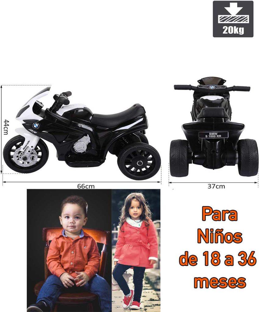 tamaño moto electrica para bebe