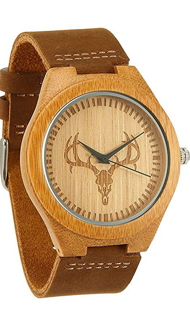 Reloj de madera con fondo de venado para regalo de las navidades para hombre