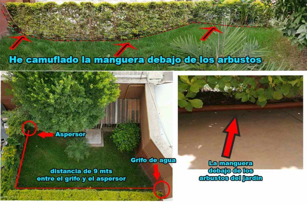 instalación de manguera para riego automatico de jardin