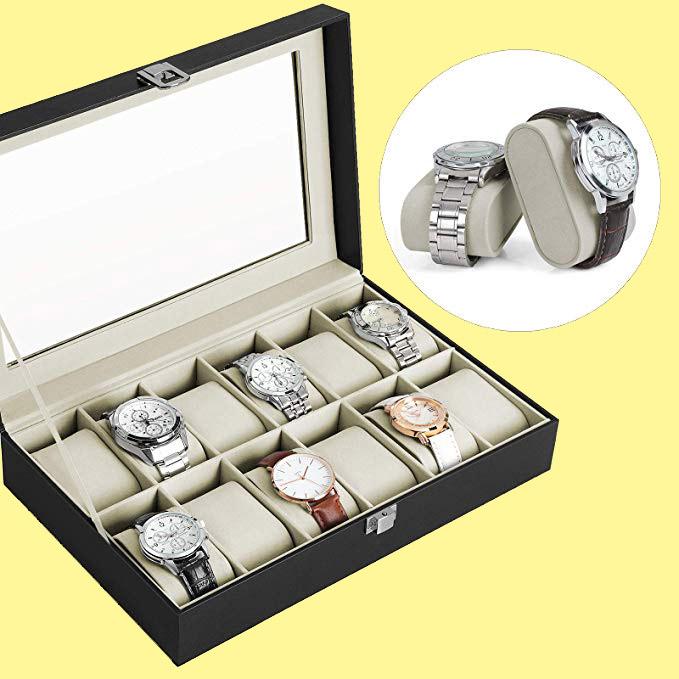 caja para relojes con 12 Compartimentos con tapa de Cristal regalo para hombres