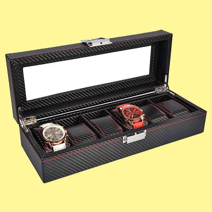 Caja Para 6 Relojes con cojines para regalar en las navidades a un hombre