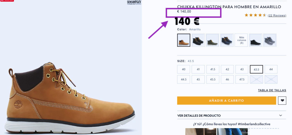 precio de las botas Timberland Killington Chukka en la pagina oficial