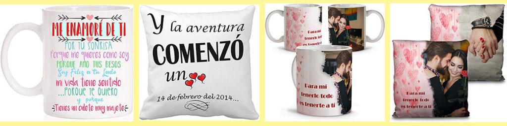 ideas de regalos personalizados para el dia de san valentin vasos y almohada con mensajes para tu pareja