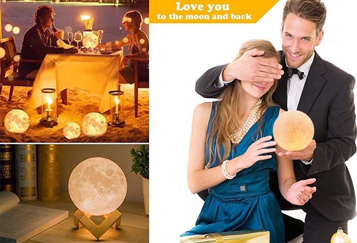 Lampara con la forma de la luna para regalar en san valentin o cenas con tu pareja