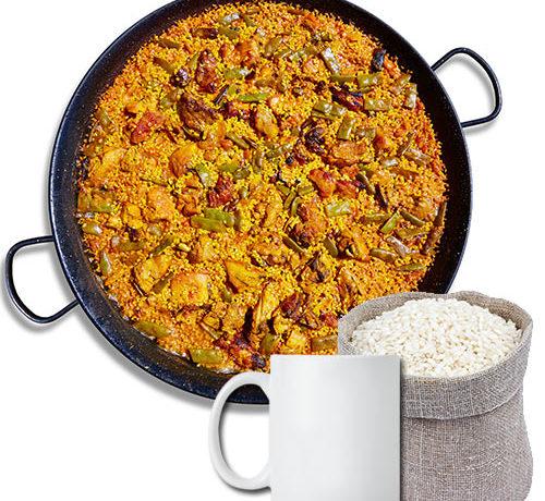 cual es la proporción de agua y arroz en la paella
