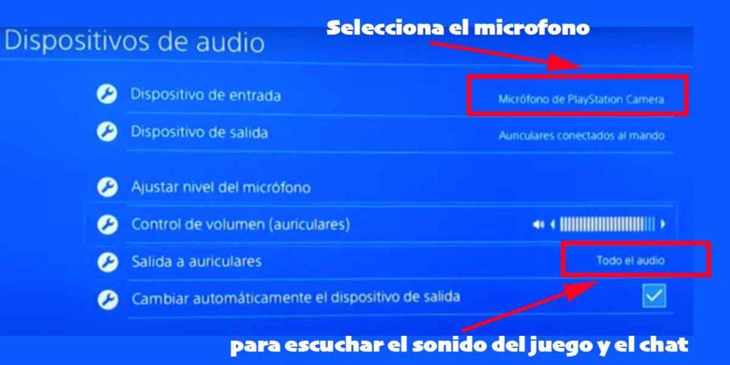 imagen de como configurar los auriculares conectados al mini jack del mando PS4