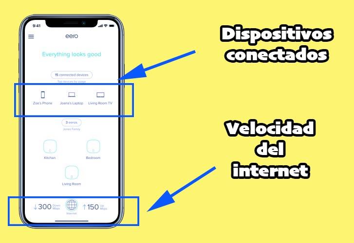 imagen del la app del router eero mostrando dispositivos conectados
