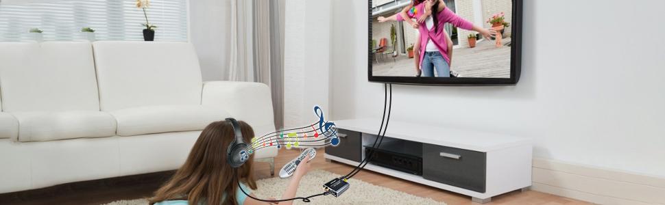 como conectar las auriculares a un televisor sin entrada para auriculares
