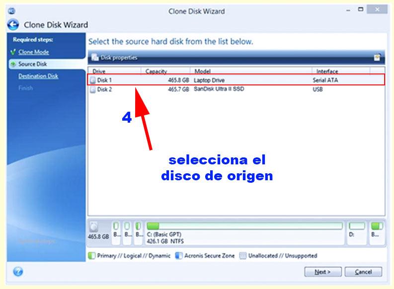 paso 4 para clonar el disco hdd al ssd para hacer que windows vaya mas rápido