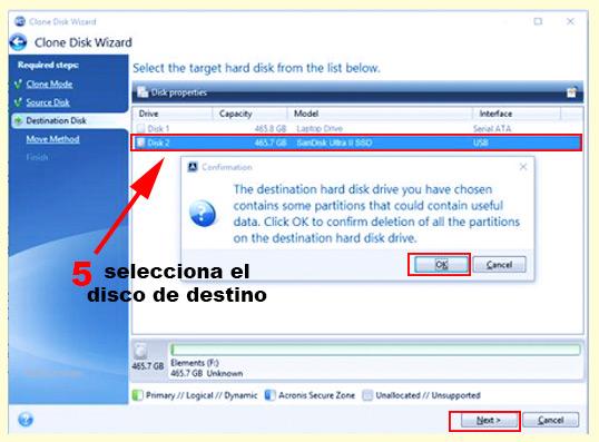 paso 5 para clonar el disco hdd al ssd para hacer que windows vaya mas rápido