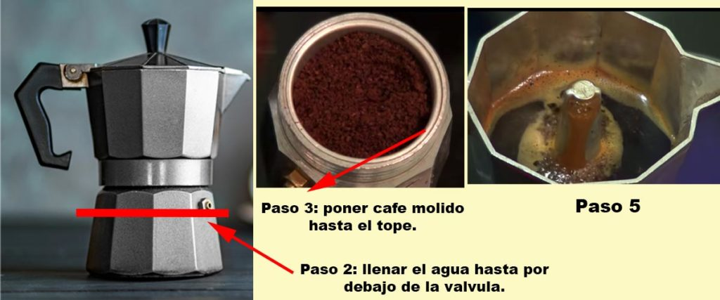 pasos para hacer cafe en una cafetera italiana