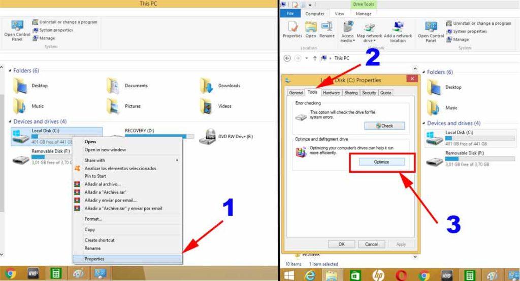 desfragmentar el disco y mejorar rendimiento windows 10