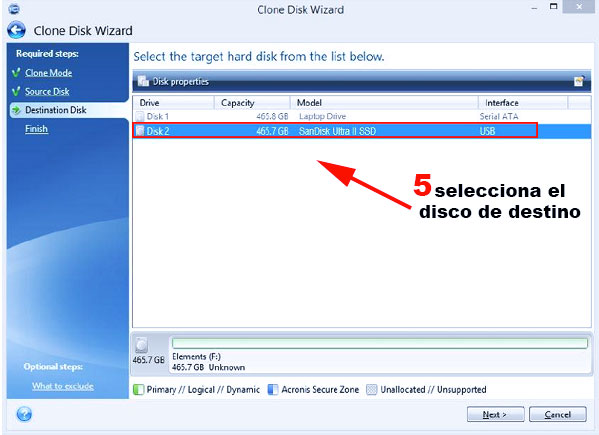 paso 5 para clonar el disco duro sin perder windows