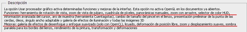 Funciones y mejoras que se quitan de photoshop al desactivar el uso del procesador grafico