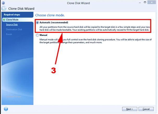 paso 3 para clonar el disco sin perder la licencia de windows