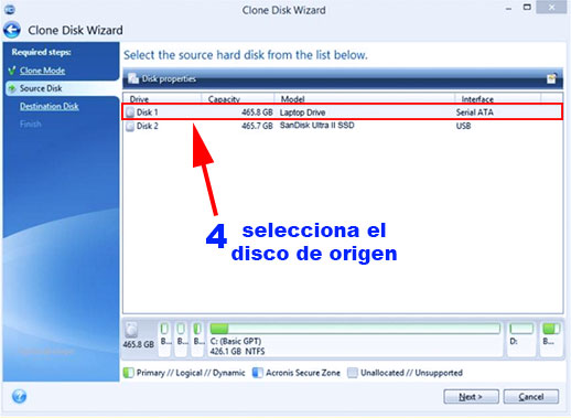 paso 4 para clonar el disco sin perder windows
