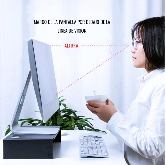 ejemplo altura ideal de la pantalla del ordenador