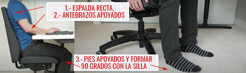 ejemplo de como sentarse de forma correcta frente a la pc