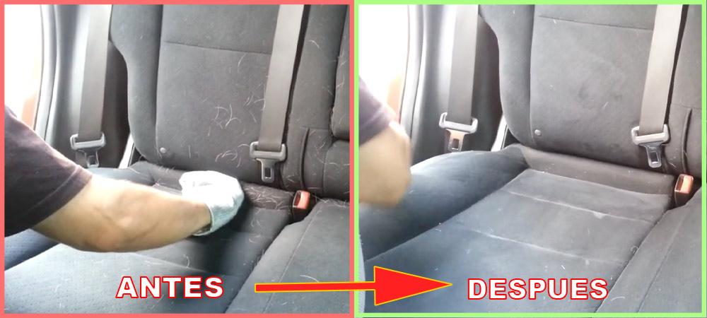 como quitar el pelo de perro del asiento del coche