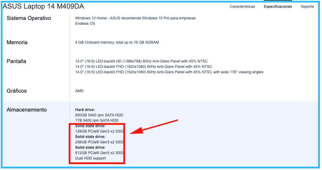 especificaciones laptop asus 14 m409da es compatible con memorias ssd m2