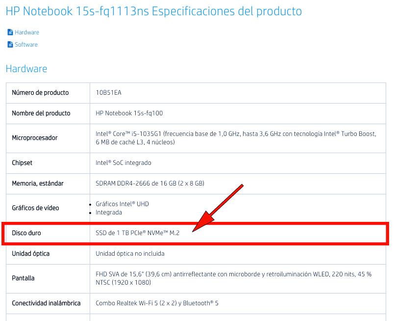 especificaciones portatil hp 15s-fq1113ns compatible con ssd m2 nvme